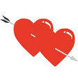 two hearts pierced an arrow hearts and arrow vector image vector image