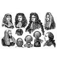 vintage engraving men earing wigs vector image vector image
