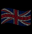 waving british flag pattern of family text items vector image vector image