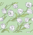 white tulips pattern vector image