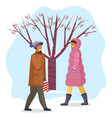 woman and man in warm coat walking outdoor in cold vector image vector image