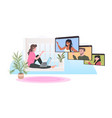 woman sitting on windowsill chatting with mix race vector image vector image