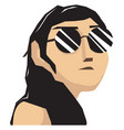 woman with glasses on white background vector image vector image