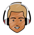 young man head with earphones avatar character vector image vector image