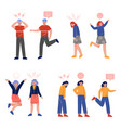 young people with various emotions collection vector image