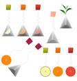 green black tea bags fruit tea clipart set vector image