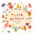 autumn background with animals vector image