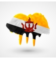 Flag of Brunei painted colors vector image