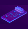 3d isometric smartphone - booking vector image
