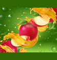 apple realistic splashing juice 3d with red apples vector image