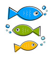 Blue Green and Orange Fish With Bubbles vector image vector image
