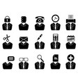 business people with office tools icons set vector image vector image
