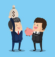 businessman with money bag and savings vector image vector image