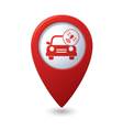 car with satelite icon on red pointer vector image