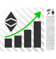 classic ethereum growth trend flat icon with bonus vector image vector image