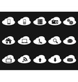 cloud icons on black background vector image vector image