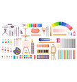 collection of art supplies icons vector image vector image