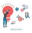 creative idea concept with light bulb vector image