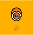 e monogram logo orange vector image