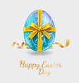 easter eggs blue color with glod ribbon vector image