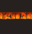 firefighters extinguishing dangerous wildfire vector image vector image