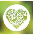 fruits and vegetables heart in circle vector image