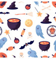 halloween pattern pumpkin bat witch broomstick vector image vector image