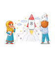 kids paint draw space rocket on the wall vector image vector image