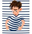 little boy trapped in a striped background vector image