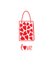 Love shopping bag with hearts inside Card vector image vector image