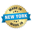made in New York gold badge with blue ribbon vector image vector image