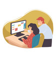 man and woman working on business project in team vector image