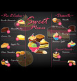 menu dessert sweet food template chocolate vector image