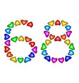 number 68 sixty eight of colorful hearts on white vector image vector image