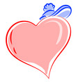 pink heart on white background vector image vector image