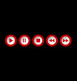red white round music control buttons set vector image
