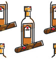 rum bottle and cigar cuban drink and tobacco vector image vector image