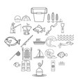 sea inhabitant icons set outline style vector image vector image