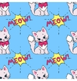 Seamless pattern with cute cats and MEOW saying vector image