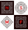 Set of monogram lettering vector image vector image