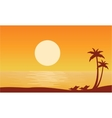 Silhouette of beach on orange backgrounds vector image vector image