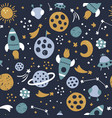 space seamless pattern on dark blue background vector image vector image