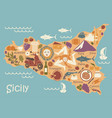 stylized map of sicily with traditional symbols vector image vector image