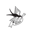 swallow tattoo with wording mother traditional vector image vector image