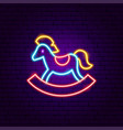 toy horse neon sign vector image vector image