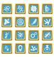 virus bacteria icons set sapphirine square vector image vector image