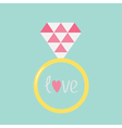 Wedding gold ring with pink diamond and word love vector image vector image