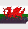 welsh flag with audience vector image vector image