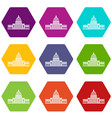 white house icon set color hexahedron vector image vector image