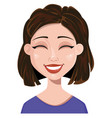 woman laughing female emotion face expression vector image vector image